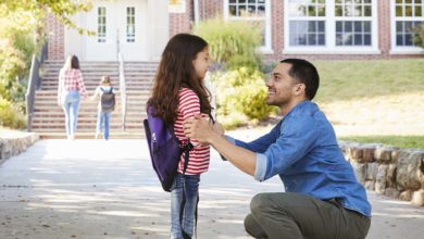 Right of first refusal: Divorced father picks up his daughter after school
